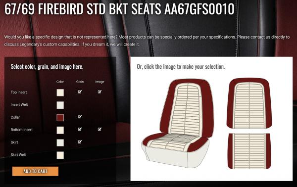 Custom Design Center Firebird bucket seats
