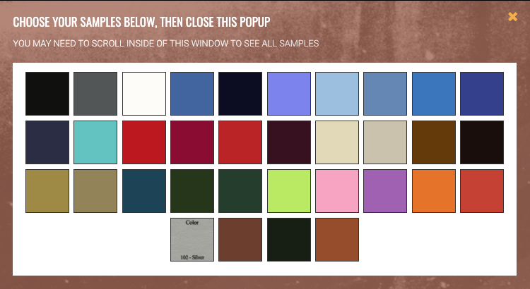 Sample Request Center color swatch options